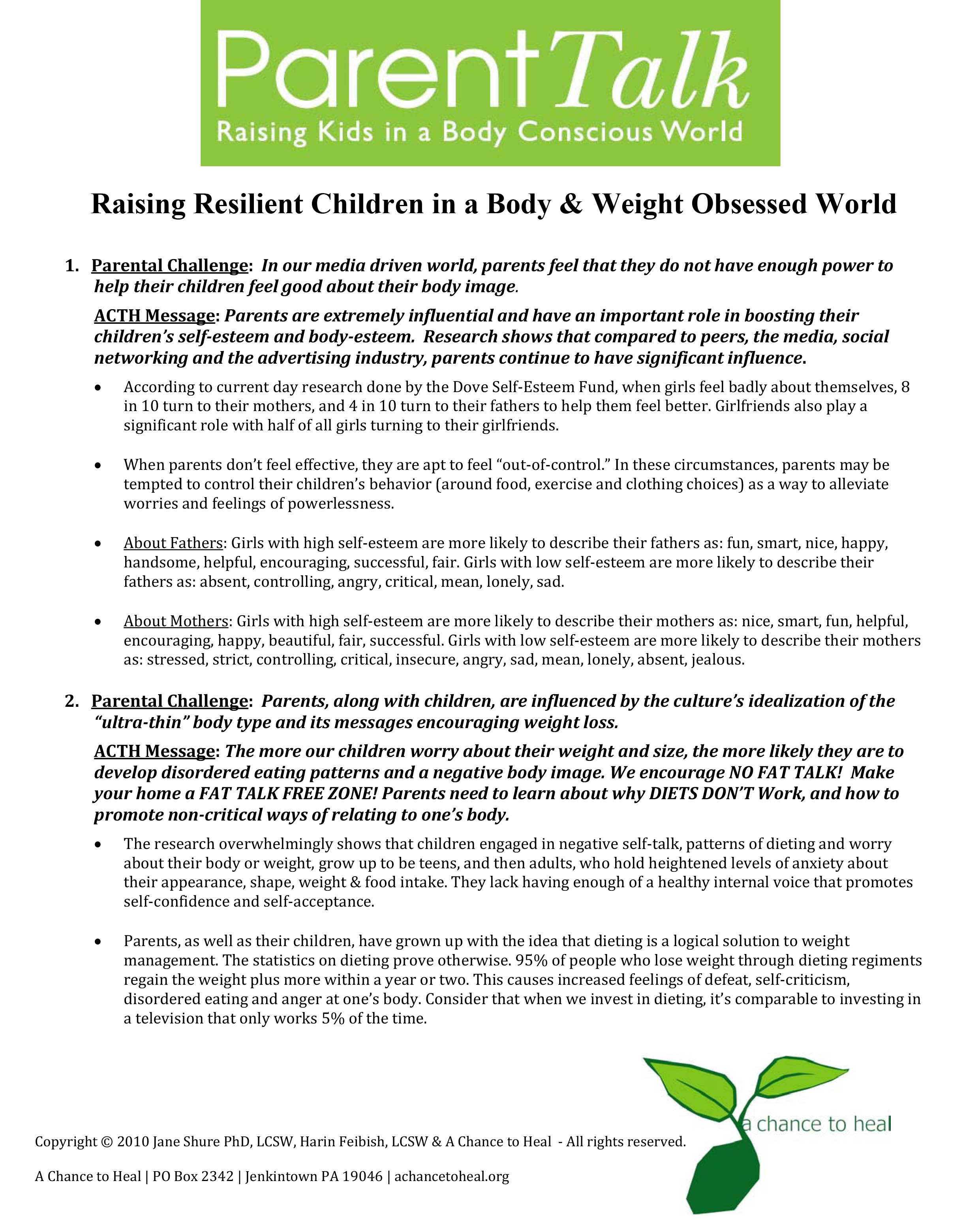 Parents have a key role in preventing eating disorders starting